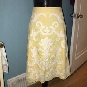 Biden yellow white appliqué skirt